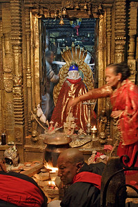 Seto Macchendranath is a white-faced state whose style is believed to have been derived from the Kings of Lichhavi Dynasty of the fourth through ninth century.   Kathmandu, Nepal.