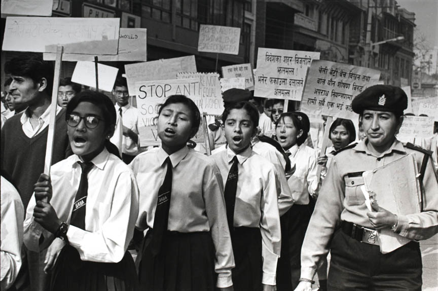 VOICE AGAINST ABUSE<br /> The young and at risk are often the most effective voices in the war against commercial sexual exploitation. Schoolgirls in Nepal participate in an anti-trafficking demonstration.<br /> Kathmandu, Nepal