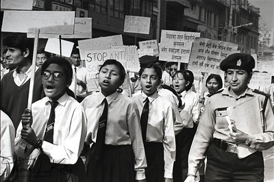 VOICE AGAINST ABUSE The young and at risk are often the most effective voices in the war against commercial sexual exploitation. Schoolgirls in Nepal participate in an anti-trafficking demonstration. Kathmandu, Nepal