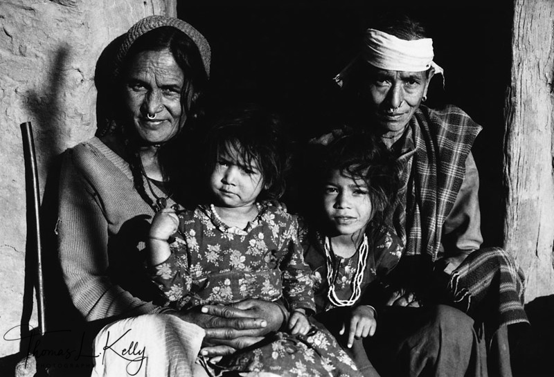 THREE GENERATION OF DEUKI<br /> In the deuki system of Nepal, children are dedicated as servants to temple deities. Forbidden to marry, many support themselves by prostitution. Their illegitimate daughters usually follow in their mothers' profession.<br /> Far Western Region, Nepal.