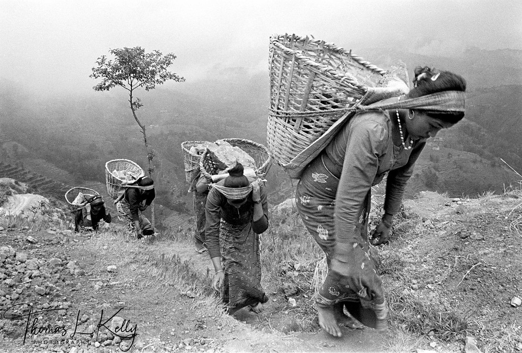 ENDLESS DOKOS<br /> Tamang women carry loads of stones in Sindupalchowk district, central Nepal.<br /> Across the Himalayas, women perform two thirds of the fieldwork and manual<br /> labor. Male brokers and returnee Madams, often once trafficked themselves, find<br /> little difficulty recruiting in these regions.<br /> Sindupalchowk district, Central Nepal.