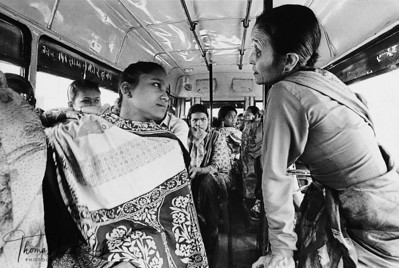 RESCUED Annuradha Koirala (right) comforts a Nepali girl just rescued from the Mumbai brothels. The girls have been transported to the Nepal-India border and are being take by bus to Kathmandu, where they will be reunited with their families, if possible. Eighteen of the 28 rescued girls are HIV-positive. Central Region, Nepal.