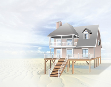 Drawing of a large house on the beach