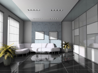 offes  interior with white sofa 3D rendering