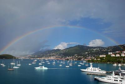 Beautiful double rainbow over Charlotte Amalie Harbor