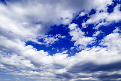 The beautiful white clouds.