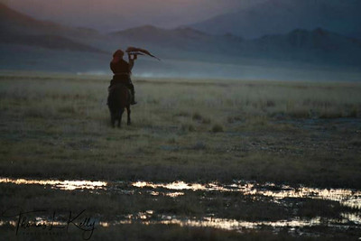 Kazakh eagle hunters of Kazakh Province. Bayan Olgii, Western Mongolia.