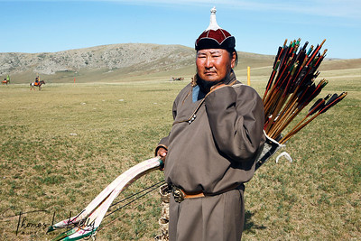 Mongol archer at Monkhe Tingri camp. Mongolia