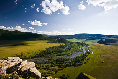 Overview of ger camps  in Bunkhan Valley with Tamir river flowing on the left. Mongolia.