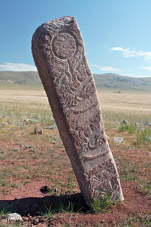 Deer Stone at the Ulaan Tolgoi site. Mongolia.