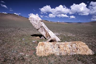 Mongolian deerstone, 900 B.C. Bronze Age. Arkhangai Aimag. Mongolia.
