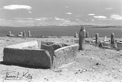 Loyal chiftens in front of grave (Turkik period) in Khustain Nuur. Mongolia.