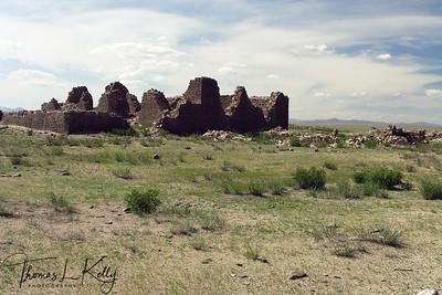 Historical ruins of Khuk Burd, Sum Temple. Mongolia.