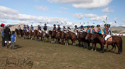 Christopher Giercke with Jumdan and his daughter Alegra, with all the teams and members. (L_R) The rest of the world Polo Team, Chinese Polo Team, New Zealand Polo Team and The Genghis Khan Polo Team. Monkhe Tingri Mongolia.