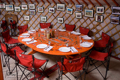 Dining arrangement at Christopher's camp in Mokhe Tingri. Mongolia