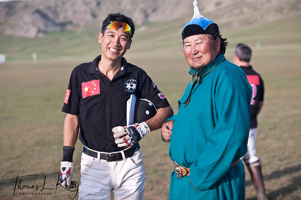 Ma Yun Long of Chinese Polo Team with Tsogt. Monkhe Tingri Mongolia.