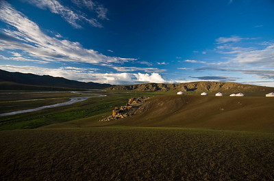 Ger camp settlement in Monkhe Tingri with orkhon river below. Mongolia.