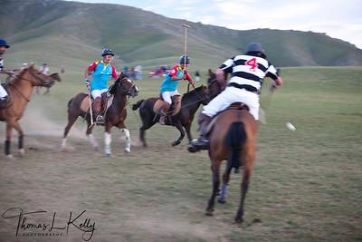 New Zealand Polo Team vs The Ghenghis Khan Polo Club. Monkhe Tingri, Mongolia