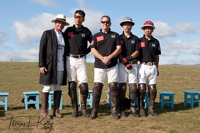 Christopher Giercke with Chinese Polo Team members;Ma Yun Long, Monte James, Tong Laga and Wang Jia Qi. Monkhe Tingri Mongolia.