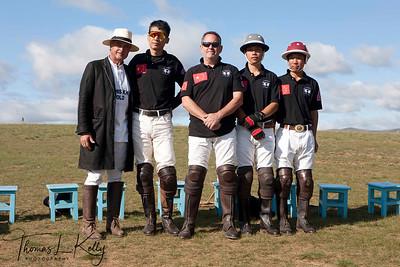 Christopher Giercke with Chinese Polo Team members;Ma Yun Long, Monte James, Tong Laga and Wang Jia Qi. Monkhe Tingri Mongolia.
