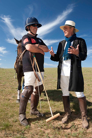 Monte James of Chinese Polo Team with Christopher Giercke. Monkhe Tingri, Mongolia