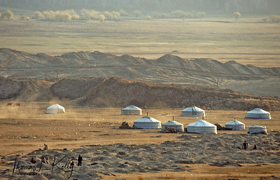 A traditional ger tent camp springs up around a site where ordinary Mongolians are exploring for gold. Ninjas have been mining for gold for the past 10 years, exhausting 10-hour days are the norm here. Sarangol Valley, 200 KMs Northwest of the Capital city Ulan Bator, Mongolia.