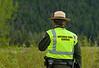 Ranger monitoring Grizzly Bear sighting in Grand Teton National Park near Jackson Lake, WY
