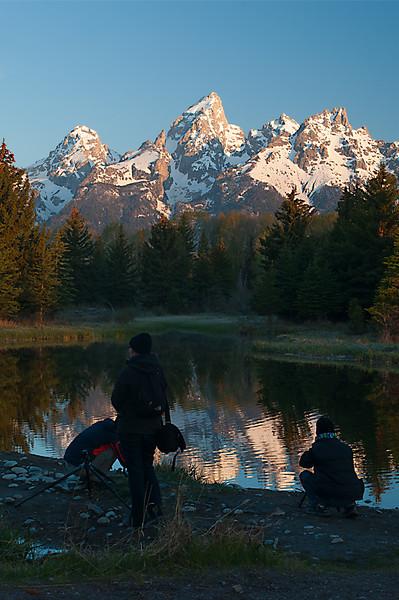 Photographers; Schwabacher Landing, Grand Teton National Park, WY