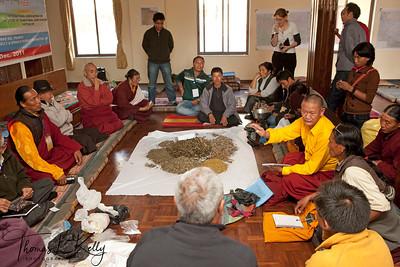 Workshop for producing efficacious medicine at Shechen Monastery in Boudha.  Kathmandu, Nepal.