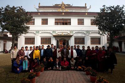 Organizers and participants of Amchi Conference at White Monastery (Seto Gompa).  Boudhanath, Kathmandu, Nepal.