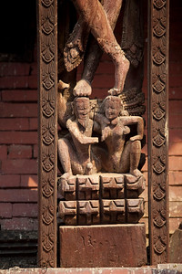 "Erotic wood carving engraved throughout the support beams, also known as ""tunala""."
