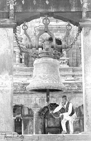 Traditional Hindu bell in  Bhaktapur Durbar Square.  Kathmandu, Nepal.