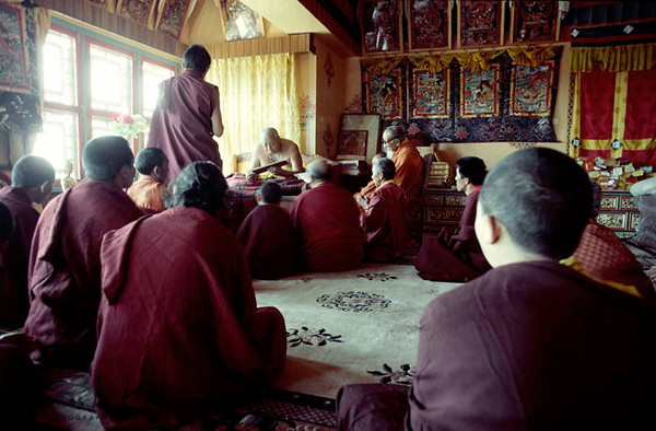 H.H. Dilgo Khyentse Rinpoche teaching at Sechen Monastery to his close circle of Monks and Nuns. Kathmandu, Nepal.