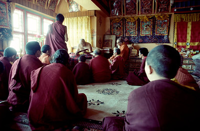 """H.H. Dilgo Khyentse Rinpoche teaching at Sechen Monastery to his close circle of Monks. H.H. Dilgo Khyentse Rinpoche (1910-1991), Tutor to the present Dalai Lama and revered as one of the greatest exponents of Dzogchen-the teachings of the Great Perfection.  Never forget how swiftly this life will be over, like a flash of summer lightning or the wave of a hand. Now that you have the opportunity to practice Dharma, do not waste a single moment on anything else, but practice with all your energy."""" H.H. Dilgo Khyenste Rinpoche, The Heart Treasure of the Enlightened Ones   It is often said that meditation upon death and impermanence was the first teaching the Buddha gave after his enlightenment, when he spoke of the four noble truths-suffering, its causes, liberation, and the path to liberation-because lack of awareness of impermanence and change is a principal cause of human suffering."""
