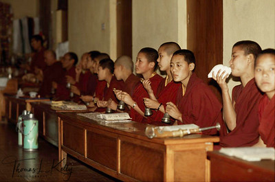 Renunciation is generally considered a path for men, not women.  Tibetan Nuns gather to recite prayers.