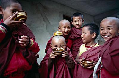 Young Tibetan nuns have yogurt in wooden bowl. Tshurpu Monastery. Tibet.