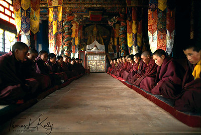 Young Tibetan Buddhist Nuns seated for daily prayers at a Monastery in Ladakh, India.