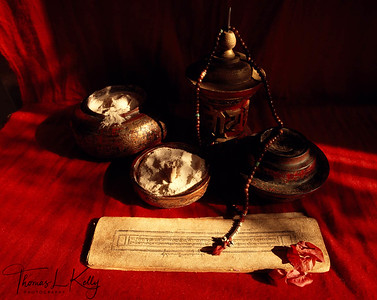 Buddhist scriptures and other holy items.