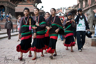 Haku patashi girls. Bhaktapur Durbar Square.  Bhaktapur, Nepal.