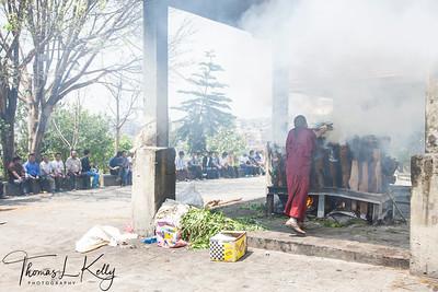 Funeral of Deceased Sherpa Guides in Bouddha, Kathmandu, Nepal.