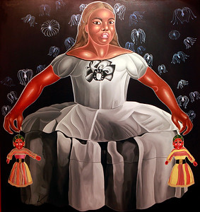 Title: I am like Itoclinas- why do you hang me like a Puppet.  The reference to Itoclinas, the pure spirit, is from the Hollywood film Avatar. In the painting that reconstructs Diego Velasquez's image of the regal child, Margarita Teresa if Spain, Manish portrays her as a pawn used by the state to advance their mercantile interests. The child dangles two Nepali puppets. By merging these images into his painting he creates a body of work that transcends geography and is both socio-political and paradoxical in content. The artist makes a powerful statement about how the West is still extending its control over the global economy and poorer nations. The hallmark of Manish's work is the merging of cultures, the parody of globalization and a satirical take on society at large. How the viewers accepts these bold works packed with so much punch, will be an interesting exercise in itself.