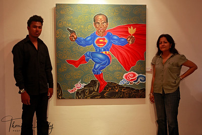 Artist Manish Harijan with owner of Siddhartha Art gallery, Sangita Thapa