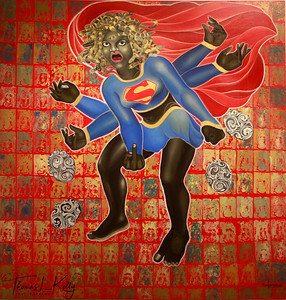 Title: Super Kali.   The artists paints this sublime female deity against a background of niches which house the avatars of Shiva. The artist pays obeisance to the essence of her name: the dark one. Gone are the bare breasts, the necklace of skulls, the accoutrements of war; instead the artist garbs his subject in the short, saucy power outfit of Supergirl and gives her a hairstyle a la Medusa, replete with serpents. Super Kali gives the viewer the middle-finger -  this albeit irreverent manifestation, is the artist's interpretation of the Goddess of Chaos – the chaos in the world is attributed to her as is its cessation.