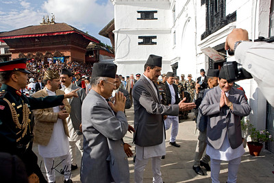 Then Prime Minister Madav Nepal arrive at Basantapur Durbar Square to witness Indra Jatra and get blessings from Living Goddess Kumari. (Lakhey is a hindu mask dancer)