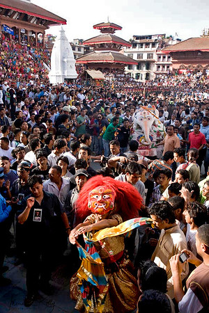Lakhey dancer on Indra Jatra celebration at Basantapur Durbar Square. (Lakhey is a hindu mask dancer)