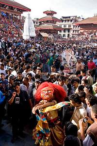 Lakhey dancer on Indra Jatra celebration at Basantapur Durbar Square. (Lakhey is a hindu mask dancer)