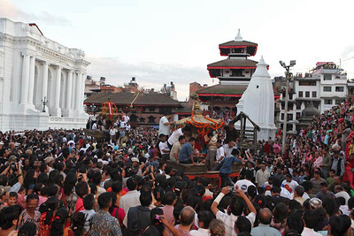 Parading Living Goddess Kumari on chariot during Indra Jatra celebration at basantapur durbar square.