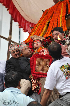 Living Goddess, Kumari at Indra Jatra (festival) which is celebrated by Newars of Kathmandu two weeks before Dasai (the biggest Hindu festival of Nepal) Kathmandu, Nepal.