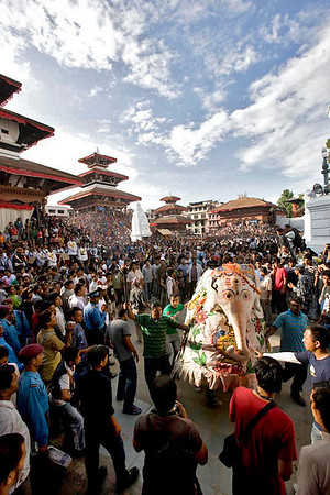 Indra Jatra celebration at Basantapur Durbar Square. September-3-2009