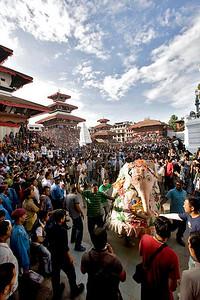 Indra Jatra celebration at Basantapur Durbar Square. September-3-2009